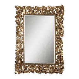 "Uttermost - Uttermost 12816 Capulin Antique Gold Mirror - 54"" Length - Antiqued Gold Leaf w/ Light Gray Glaze"