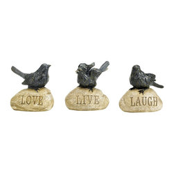 """Sterling Industries - Sterling Industries Love Live Laugh X-8071-78 - This set of three decorative Sterling Industries bird statues feature the trendy saying, """"Live, Laugh, Love."""" The three birds are each set in a different poise, but finished in the same hue for a collective look. The stones, each carved with a different word, also feature coordinating colors which help to pull this design together."""