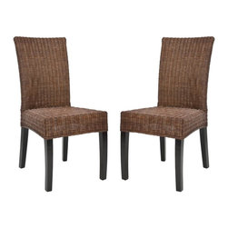 Safavieh - Grayton Side Chair (Set Of 2) - At once family friendly and brimming with style, the transitional Grayton Side Chair updates the classic wicker chair for today's casual homes. Tightly woven dark brown wicker and a mahogany frame bring instant ambiance and charm to the dining room, kitchen or great room.