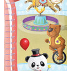 Circus Growth Chart - Step right up - the circus is in town!  The panda ringmaster directs the action of a seal, tiger, monkeys and a bear on unicycle!  Your child's name will be blazed across the header in a fun circus themed font!