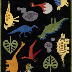 Momeni - Kids Lil Mo Whimsy 4'x6' Rectangle Black Area Rug - The Lil Mo Whimsy area rug Collection offers an affordable assortment of Kids stylings. Lil Mo Whimsy features a blend of natural Black color. Hand Tufted of 100% Mod-Acrylic the Lil Mo Whimsy Collection is an intriguing compliment to any decor.