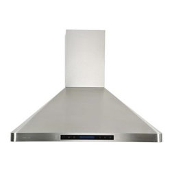 Cavaliere-Euro 36W in. Single Chamber Wall Mounted Range Hood - With the Cavaliere-Euro 36W in. Single Chamber Wall Mounted Range Hood in your kitchen, you can crank up the heat as high as you need. Designed to make quick work of clearing the air of smoke, this range hood is effective, efficient, and stylish. It has sleek, modern lines and is made of brushed 19-gauage stainless steel. The quiet single chamber motor operates on four speed levels. Dishwasher-safe, stainless steel baffle filters do an excellent job at clearing the air. A handy, credit card sized remote control, two dimmable halogen lights, and a touch sensitive keypad make this hood easy to use.Additional Information: Credit card sized remote controlHeat sensitive function controls fan speed automatically4 speed levelsTouch sensitive LCD keypad with blue lightingDishwasher-safe stainless steel baffle filtersAirflow: 600-900 CFM 2 dimmable, 35-watt halogen lights30-hour cleaning reminderDelayed power auto shut-offAbout CavaliereCavaliere offers a complete stainless steel range hood collection. They blend superior components with the latest technologies to create range hoods that cater to your needs. Cavaliere has a special understanding of the kitchen environment, ergonomics, aesthetics, and integration within your home or workplace. They specialize in wall-mounted, island, or under cabinet range hoods that make a statement in your kitchen.
