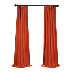 "Exclusive Fabrics & Furnishings, LLC - Bombay Rust Cotton Twill Curtain - 100% Cotton. 3"" Pole Pocket with Hook Belt & Back Tabs. Lined . Imported. Weighted Hem. Dry Clean Only."