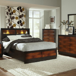 Coaster - Rolwing 5Pc Eastern King Storage Bedroom Set in Reddish Oak/Espresso - The Rolwing bedroom collection features exquisite casual design features. Romantic ambient lighting creates a stunning display, creating a relaxing mood that you are sure to love. The sleek headboard with storage compartments shows off your favorite decorative accents. Matching case pieces feature knob-free front drawers and full extension glides.