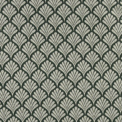Green, Fan Patterned Woven Upholstery Fabric By The Yard - This material is an upholstery grade jacquard fabric. It is lightweight, but is rated heavy duty and upholstery grade.