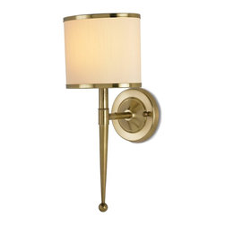 Currey and Company - Primo Wall Sconce w/ Cream Sham - Inspired by mid-twentieth century stylistic design, Primo boasts primly executed detailing in antique brass. A trim of brass rings the accompanying black shades. There is a matching chandelier. Hardwire Only.