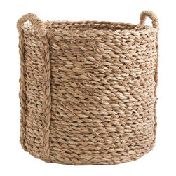 Large Woven Seagrass Basket - An interesting texture and design as well as a flexible weave, this basket is large enough to hold nearly anything. Maybe you need a place for laundry or firewood or newspapers and shoes! The possibilities are endless for this woven seagrass basket.