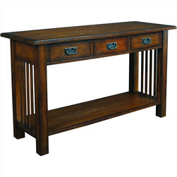 """Hammary - Canyon Sofa Table in Mission Oak Finish - """"It's possible to arrange a totally uniquesetting when you choose the """"""""Canyon""""""""collection from Hammary. Thesemission-styled occasional tables blendnaturally with all types of eclecticdecorating themes."""
