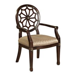 """Powell Furniture - Powell Furniture Spider Web Back Accent Chair - Powell Furniture - Accent Chairs - 235620 - The Spider Web Back Accent Chair has a """"medium mahogany"""" wood frame and an elegant diamond grain fabric seat. The unique details add interest and elegance. The perfect piece to add instant glamour to any space."""