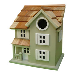"""Home Baazaar Inc. - Townhouse Birdhouse - Green - A tiny front porch, window and door details and a pine-shingled roof give this style its character. A removable back wall, drainage, ventilation, an unpainted interior and a 1.25 """" hole size will invite nesting birds in and keep larger ones out. House can be hung with mounting peg (included)."""
