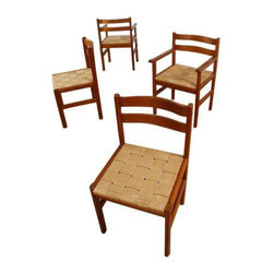Rush Seat Teak Dining Chairs - Set of 4 - Dimensions 18.0ʺW × 17.5ʺD × 31.5ʺH