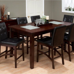 Jofran - Jofran Chadwick 7-Piece Counter Height Dining Table Set Multicolor - JSI1180 - Shop for Dining Tables from Hayneedle.com! The modern Jofran Chadwick 7-Piece Counter Height Dining Table Set shows off sophisticated style with its crackled glass accents and chairs of tufted faux leather. This set includes six chairs in all which fit around the sizeable rectangular table with room to spare. The chairs feature fully upholstered seats and backs and a frame of Asian hardwood with shapely stretchers great for giving your feet a rest. The table itself is made up of the same espresso-finished Asian hardwood but with thick block legs and an expansive surface with crackled glass inserts at each end for a dazzling visual in your dining room. This set is also available with an optional two-door two-drawer dining server at an affordable price. Additional InformationChair dimensions: 19W x 25D x 40H inchesTable dimensions: 60L x 25W x 36H inchesServer dimensions: 54W x 18D x 35H inchesAbout Jofran FurnitureJofran is a seller of fine home furnishings based in Norfolk Mass. Launched in 1986 Jofran is known for the high-quality materials and meticulous methods that go into producing its products. Jofran furniture is easy-to-assemble and includes various styles from all around the world making it easy to find a piece that suits your home decor.