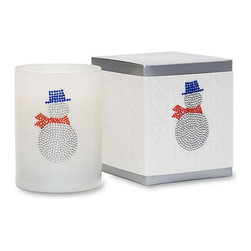 Primal Elements - Snowy Icon Candle in White Glass - A true winter companion, our Snowman is wrapped in warm musk and frosty citrus and notes of Christmas lily. Each hand-poured vegetable wax blend candle features a unique hand jeweled crystal icon on white glass. Thirteen ounce ICON Candles have an approximate burn time of 50 hours.