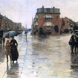 "Frederick Childe Hassam Rainy Day, Boston - 14"" x 28"" Premium Archival Print - 14"" x 28"" Frederick Childe Hassam Rainy Day, Boston premium archival print reproduced to meet museum quality standards. Our museum quality archival prints are produced using high-precision print technology for a more accurate reproduction printed on high quality, heavyweight matte presentation paper with fade-resistant, archival inks. Our progressive business model allows us to offer works of art to you at the best wholesale pricing, significantly less than art gallery prices, affordable to all. This line of artwork is produced with extra white border space (if you choose to have it framed, for your framer to work with to frame properly or utilize a larger mat and/or frame).  We present a comprehensive collection of exceptional art reproductions byFrederick Childe Hassam."