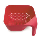 Joseph Joseph - Joseph Joseph Square Colander Large, Red - This ergonomically designed colander has several unique features. Firstly, the single vertical handle ensures it remains upright and stable whilst rinsing and draining and leaves one hand free for operating the tap. Secondly, its square shape fits perfectly into the sink and makes serving rinsed food easier. Lastly, the large vertical holes allow liquids to drain away quickly. Available in green, black, red, and white.