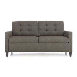 """Karnes 71"""" Queen Sleeper Sofa - Karnes plays off mid-century tradition with a tailored, buttonless tufted back cushion, narrow track arms and a high tapered leg, covered in menswear weave of grey and charcoal. So clean and timeless, you'd never know it was a sleeper. Next-generation spring-loaded mechanism opens effortlessly to unfold a 4"""" mattress with a patented cover that delivers lasting protection against stains, moisture, bacteria and odors."""