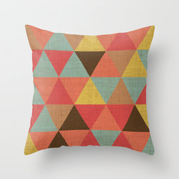 Triangle Pattern Throw Pillow by Karen Hofstetter - The colors of this pillow are so vibrant and inspiring. I could design a whole room around it.