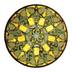 Meyda Tiffany - Meyda Tiffany Knotwork Trance Medallion Stained Glass Tiffany Window X-13515 - This Meyda Tiffany medallion stained glass Tiffany window from the Knotwork Trance Collection features an eye-catching kaleidoscope effect. The mustard yellow pairs beautifully with the soft, light gold tones. Dark shades of green accentuate the knotwork, pulling this look together.