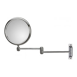 WS Bath Collections - Doppiolo 40-2 Magnifying Mirror 3x - 6x - Doppiolo 40-2 by WS Bath Collections 9.1 Dia. x 14.6 Extension Magnifying Mirror, in Chromed Plated Brass Structure and Frame in Chromed Plated Abs