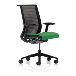 "Steelcase - Think Mid-Back Mesh Office Chair - The chair with brain and conscience.Think® is chair intelligent enough to understand how you sit, and adjust itself intuitively. It's thoughtful enough to measure, and minimize, its lifelong impact on environment. It's almost as if chair could Think. Left to their own devices, an engineer, designer and pair of environmentalists might each create very different chair. But Think® is brainchild of all three disciplines. It has clean, sophisticated aesthetic designer hoped for, technological ""intuitiveness"" engineer desired and complete sustainability environmentalists sought. Think® chair is simplest, most streamlined embodiment of our deep understanding of people who sit, and how they sit throughout day. Think® has raised bar for all chairs follow in its wheels. WHY BUY FROM US? -We stand behind our 100% Price-match Guarantee on all Steelcase chairs. -We are an authorized Steelcase retailer and can offer you complete Steelcase lifetime. If you have any problem with your Think® chair and need work done, Steelcase will cover costs. Steelcase is proud to stand behind their products. -Looking to make large purchase? We make volume discounts possible! Don't hesitate to give us call. -You'll never pay sales tax*!* Except in Massachusetts, Kentucky and Utah. FEATURES -Fabric seat and inner back. -Innovative back and seat ""flexors"" track with your natural movements and provide optimum support for spine and pelvis by responding intuitively. -Translucent 3D Knit material shows back flexors from both sides of chair. -3D Knit mesh is softer to touch than traditional mesh chairs. -Clean, streamlined design. -Recline support customized to your body weight. -Flexible seat edge relieves pressure on back of legs. -Adjustable seat depth. -5"" Pneumatic adjustable seat height. -Environmentally safe, 99% of chair is recyclable. -Tested for up to 300 lbs. -Shipped ready to assemble in about 5 minutes: attach back to seat with two screws and provided tool. -Recipient of numerous awards including Business Week Gold Industrial Design Excellence Award (IDEA) in 2006 for design, functionality, and innovation as well as Red Dot Award winner for product design, selected from among more than 4,000 entries from 40 countries. -Shipped ready to assemble in about 5 minutes: attach back to seat with two screws and provided tool. Please Note: Use of standard carpet casters on hard surfaces, including floor mats, will affect chair stability and may result in personal injury. ERGONOMIC FUNCTIONS a. Your Profile Seat and BackBack flexors track with individual movement of your spine and pelvis. back flexors are individually shaped to human form to provide optimum support for each area of back. Seat flexors conform to your shape, providing dynamic comfort pocket. b. Your Power MechanismThe Your Power Mechanism moves as fluidly as human body does. It provides recline support in proportion to your own body weight, while keeping you oriented to your work. c. Height, Depth, Width, and Pivot ArmsArms telescope in and out, move forward and back, pivot and adjust up and down so you can find natural position comfortably supports wrists, forearms, shoulders and neck. d. Flexible Seat EdgeWhen you recline or lean forward, seat edge flexes to relieve pressure on back of legs. e. Your Preference ControlThe Your Preference Control combines four comfort settings into one simple dial. Select your favorite setting: weight activated, weight activated with at 20"