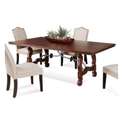 Bassett Mirror Company - Bassett Mirror Watson Rectangular Trestle Dining Table in Fruitwood - Rectangular Trestle Dining Table in Fruitwood belongs to Watson Collection by Bassett Mirror Company Cherry veneers and hardwood solids in a brown cherry finish. Dining Table (1)