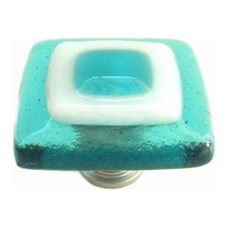 Uneek Glass Fusions - Aqua and White Glass Cabinet Knob - Collection: Strato