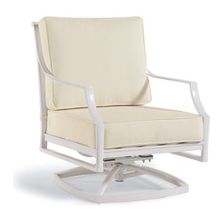 Frontgate - Grayson Swivel Outdoor Lounge Chair with Cushions in White Finish, Patio Furnitu - Crafted of 100% ingot aluminum. Solid cast back details. Arrives with plush, all-weather back and seat cushions. Cushions are constructed of a high-resiliency foam core with soft polyester wrap. Finished with 100% solution dyed fabric covers that resist mold, mildew and fading. Play hostess during party season without a care. Our Grayson Swivel Lounge Chair is perfectly relaxing for any occasion, with its high lattice back, airy design, and smooth swivel. Crafted of solid cast aluminum, this timeless collection is elegant without being fussy. Made to endure season after season with hand-filed welds, a durable powdercoated finish and all-weather cushions.Part of the Grayson White Collection.  .  .  .  .  . Glossy White Finish . Designed exclusively for Frontgate . Requires some assembly . Imported.