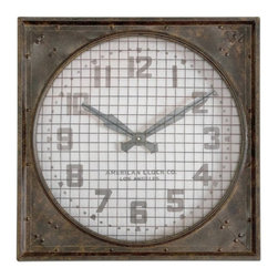 Uttermost - Uttermost Warehouse Clock with Grill - 26W x 26H in. Multicolor - 6083 - Shop for Clocks from Hayneedle.com! About UttermostThe mission of the Uttermost Company is simple: to make great home accessories at reasonable prices. This has been their objective since founding their family-owned business over 30 years ago. Uttermost manufactures mirrors art metal wall art lamps accessories clocks and lighting fixtures in its Rocky Mount Virginia factories. They provide quality furnishings throughout the world from their state-of-the-art distribution center located on the West Coast of the United States.