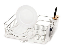 simplehuman - Simplehuman Steel Knife Block and Dish Rack - This Simplehuman dish rack has a knife block that holds knives of various sizes. It is made from durable stainless steel and it adjusts to your household needs with removable plastic accessories.