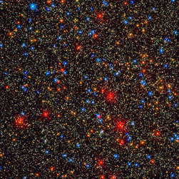 Colorful Stars Galore inside Globular Star Cluster Omega Centauri Print - NASA's Hubble Space Telescope snapped this panoramic view of a colorful assortment of 100,000 stars residing in the crowded core of a giant star cluster.