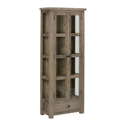 Jofran - Jofran 941-91 Tall Display Cupboard with Two Tempered Glass Doors and 1 Drawer - With this tall and lean display cupboard you don't have to reserve a large empty space to display your wares in an over-done china-cabinet. Focusing on a natural elegance, this small china cabinet will provide you with a place to display your dining ware in a large dining room or a compact kitchen. The item is made from reclaimed pine wood with a Slater Mill Pine finish that calls out the beauty in wood imperfections. Rustic themed hardware add detail to the piece and a drawer at the bottom allows for additional hidden storage.