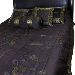 Hand Painted Floral 7-Piece Duvet Cover Set, Coffee Brown, King
