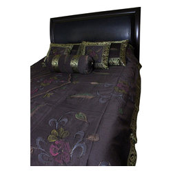 Banarsi Designs - Hand Painted Floral 7-Piece Duvet Cover Set, Coffee Brown, King - Our decorative and unique 7-piece hand painted floral duvet cover set from Banarsi Designs includes: 1 duvet cover, 2 square pillow covers, 2 rectangular pillow covers, and 2 bolster pillow covers.