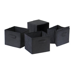 Winsome Wood - Winsome Wood Capri Set of 4 Foldable Black Fabric Baskets - Set of 4 Foldable Black Fabric Baskets belongs to Capri Collection by Winsome Wood Set of 4 Foldable black fabric containers. Use as a magazine holder, file holder, art project holder. They are great for decorative storage and organization: washcloths in the bathroom, note pads at work, personal items in chest of drawers. When not in use, they fold for easy storage. Easy to assemble Basket (4)