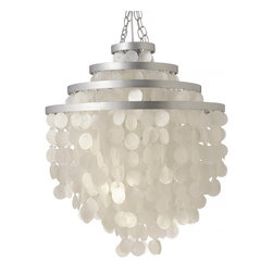KOUBOO - Round Chandlier with Round Capiz Seashells, Natural White - Total height with hanging chain 60 inches. Height can be adjusted by removing chain links.