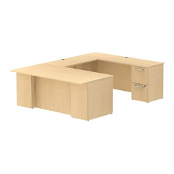 "Bush - Bush 300 Series 72"" U-Shape Conference Desk Set in Natural Maple - Bush - Commercial Grade Office - 300S029AC - Keep everything in front of you with an executive arrangement that fits any office environment. Large U-shaped top surfaces offer a comfortable place to spread out and the return fits multiple office configurations. Two box drawers and one file drawer in the pedestal store files or office supplies. The 42"" Return features two file drawers on fully extendable drawer slides for easy access to back. All file drawers accommodate letter- legal or A4-size files. Wire grommets control unsightly cords and cables, keeping desk and return surfaces clutter-free. Return complements the desk and offers additional storage at your fingertips. Rich, Natural Maple finish fits beautifully in executive spaces. Tough, rugged work surfaces resist scratching, stains, dings and dents, looking good for years. Includes BBF Limited Lifetime warranty."