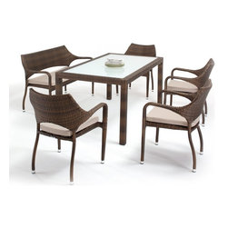Domus Ventures - Domus Ventures Sarzana Patio Dining Set Multicolor - DOMU047 - Shop for Tables and Chairs Sets from Hayneedle.com! Anything from breakfast to your nightcap will be an event you'll want to celebrate once you can gather around the Domus Ventures Sarzana Patio Dining Set. It's just another way the Sarzana collection fits outdoor entertaining into your life. Consisting of a glass-top rectangular dining table one dining bench and four dining arm chairs this set features hand-woven hard-wearing Abaco XF wicker that resists rot and mildew won't fade despite daily UV exposure and handles heat humidity and cold with aplomb. This material known as high-density polyethylene is dirt- and stain-resistant low-maintenance and can be recycled at the end of its lifespan. Each piece is supported by a rust-free aluminum frame and the dining chairs come in a pleasing stackable shape. The seat cushion is filled with layered foam and fitted with a removable Olefin cover.Dimensions:Table: 64.96L x 35.43W x 29.53H in.Bench: 53.5W x 24D x 32.7H in.Chair: 24W x 24D x 33H in.About Domus Ventures Pte. Ltd.Established in 1997 Domus Ventures is a German-owned manufacturer that has grown into a dominant global player in the furniture industry. Exporting over 1 600 containers annually each design and each piece is subjected to the highest level of scrutiny ensuring the company's commitment to excellence. Often using materials such as teak natural wicker loom paper fiber and resin wicker Domus Ventures is always exploring and testing new materials to find beautiful and sustainable high-quality designs while striving to produce unique modern and contemporary furniture that creates the perfect setting for your home and lifestyle whatever your taste budget or needs might be. Despite their growth into a company that employs over 2 200 factory and office staff in China Indonesia Singapore Germany and the United States Domus Ventures prides itself not just on its products but also on its