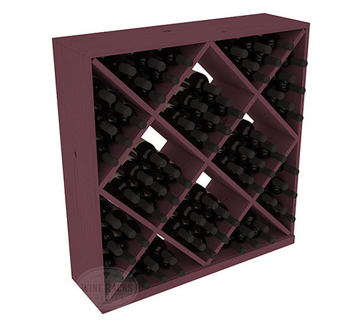Wine Racks America - Solid Diamond Wine Storage Cube in Pine, Burgundy - Elegant diamond bin style bottle openings make for simple loading of your favorite wines. This solid wooden wine cube is a perfect alternative to column-style racking kits. Double your storage capacity with back-to-back units without requiring more access area. We build this rack to our industry leading standards and your satisfaction is guaranteed.