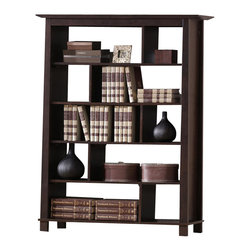 Baxton Studio - Baxton Studio Havana Brown Wood Modern Bookcase (Tall) - Simultaneously having a classic and contemporary feel, the Havana Bookcase is a versatile design with just the right touch for a sophisticated, casual living space.  This is a practical yet elegant five-shelf tall bookshelf that features offset shelf dividers for added intrigue.  The contemporary bookcase is built with dark brown wenge veneered MDF and particle board with eco-friendly rubber wood.  To clean, wipe with a dry cloth.  Made in Malaysia; assembly is required.  A matching Havana end table, low bookshelf, TV cabinet, and coffee table are also offered (each sold separately).
