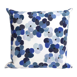 """Trans-Ocean Inc - Pansy Blue/White 20"""" Square Indoor Outdoor Pillow - The highly detailed painterly effect is achieved by Liora Mannes patented Lamontage process which combines hand crafted art with cutting edge technology. These pillows are made with 100% polyester microfiber for an extra soft hand, and a 100% Polyester Insert. Liora Manne's pillows are suitable for Indoors or Outdoors, are antimicrobial, have a removable cover with a zipper closure for easy-care, and are handwashable.; Material: 100% Polyester; Primary Color: White;  Secondary Colors: lt. blue, navy; Pattern: Pansy; Dimensions: 20 inches length x 20 inches width; Construction: Hand Made; Care Instructions: Hand wash with mild detergent. Air dry flat. Do not use a hard bristle brush."""