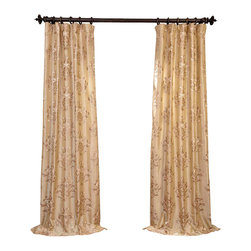 """Exclusive Fabrics & Furnishings - Ankara Champagne Embroidered Faux Silk Curtain - SOLD PER PANEL . 51% Polyester 49% Nylon   Lined . 3"""" Pole Pocket with Hook Belt . Base Fabric- Champagne   Pattern- Beige .Weighted Hem   Dry Clean Only ."""