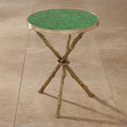 Global Views Malachite Twig Traditional Side Table - Faux twig legs in brass with a faux malachite top make this side table an on-trend treasure. I think this would look adorable next to mod chair.