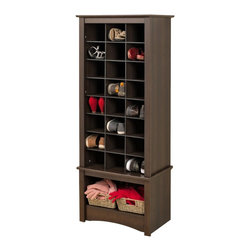 Prepac - Prepac Tall Shoe Cubbie Cabinet in Espresso - Don't hide your favorite shoes at the back of the closet! Our stylish tall shoe storage cabinet is a perfect fit for any foyer, mudroom, entryway or bedroom. Get your shoes up off the floor and neatly organized with the functionality of custom built-in shelving at an affordable price. This cabinet has 24 spacious cubbies that can fit men's size 13 shoes and a large bottom compartment for boots, bags or even a basket to hold accessories such as scarves or gloves. Built with durable laminated composite woods and finished in Black or Espresso. What's included: Cubbie Cabinet (1).