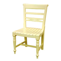 Tradewinds - Cottage Style Wooden Seat Side Chair, Yellow - Get this raffles wooden seat side chair featuring cottage house furniture design and enjoy comfortable seating all day long. It features a versatile design and makes an ideal chair for indoor use in kitchens, dining rooms or in cafes and restaurants. Different finish options are available in it to go well with the d��_cor of your house.