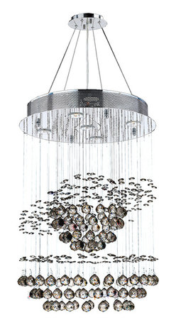 """Worldwide Lighting - Helix 5-Light Chrome Finish Crystal Galaxy Chandelier 18"""" x 26"""" - This stunning 5-light Crystal Chandelier only uses the best quality material and workmanship ensuring a beautiful heirloom quality piece. Featuring a radiant chrome finish and finely cut premium grade clear crystals with a lead content of 30%, this elegant chandelier will give any room sparkle and glamour. Dual-mount option for flush or suspension. Worldwide Lighting Corporation is a privately owned manufacturer of high quality crystal chandeliers, pendants, surface mounts, sconces and custom decorative lighting products for the residential, hospitality and commercial building markets. Our high quality crystals meet all standards of perfection, possessing lead oxide of 30% that is above industry standards and can be seen in prestigious homes, hotels, restaurants, casinos, and churches across the country. Our mission is to enhance your lighting needs with exceptional quality fixtures at a reasonable price."""