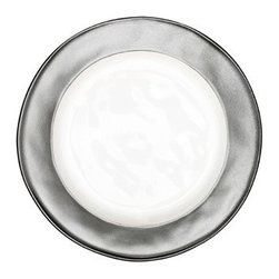 """Juliska - Juliska Emerson Round Dessert Plate White-Pewter - Juliska Emerson Round Dessert Plate WhitebrewterEvery slice of cake and crumb of treat looks picture-perfect upon a white background and framed within lustrous pewter rim. Dimensions: 9"""" W"""