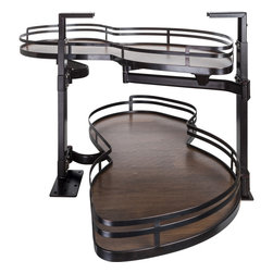 Hardware Resources - Blind Corner Swing Out  Right Handed Unit.  21 Opening - Blind Corner Swing Out  Right Handed Unit. Minimum 21 opening for Frameless or Face Frame Cabinets. Walnut textured solid non slip bottom shelves with Bronze edging  ships complete with installation instructions.