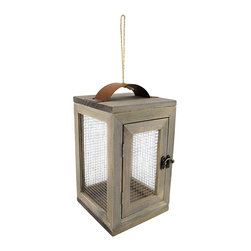 Zeckos - Wood and Wire Mesh Candle Lantern - With its modern design and its chique construction, this wood candle lantern is the perfect way to provide a little accent lighting inside and outside of your home. It measures 9.75 inches high, 6 inches wide, and 6 inches long.