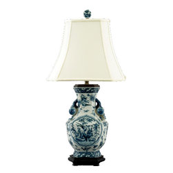 Oriental Danny - Asian Blue and White porcelain lamp - Asian blue and white porcelain lamp in bird and garden scene. Hexagonal shape and accent with pomegranate. Dressed with silk lamp shade. Recommend wattage: 100; 3-way switch; UL listed.