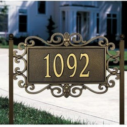 Whitehall Mears Fretwork 1 Line Lawn Plaque - About WhitehallWhitehall is the world's largest manufacturer of weathervanes, but the business points a lot more ways than east, west, north, and south. Inspired by traditional handcrafted designs and quality, Whitehall also makes gorgeous mailboxes, address plaques, and outdoor accents. They're based in western Michigan, building American tradition and quality into every product they make.